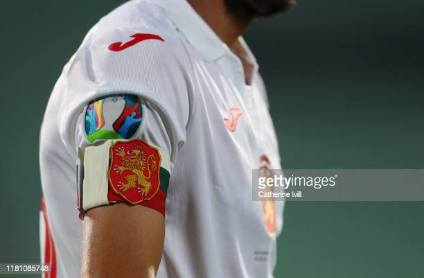 Detailed view of the captains armband of Ivelin Popov during the UEFA Euro 2020 qualifier between Bulgaria and England on October 14, 2019 in Sofia,...