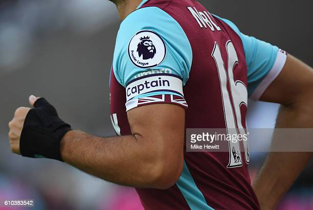 A detailed view of the captain's armband of Mark Noble of West Ham United during the Premier League match between West Ham United and Southampton at...