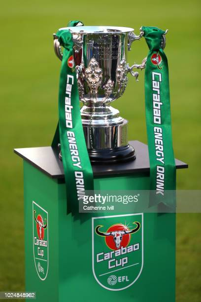 A detailed view of the Carabao Cup Trophy is seen prior to the Carabao Cup Second Round match between AFC Wimbledon and West Ham United at The Cherry...