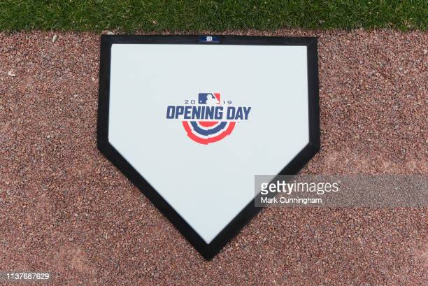 A detailed view of the ceremonial Opening Day logo home plate used during the pregame ceremonies prior to the game between the Detroit Tigers and the...