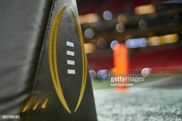 A detailed view of the CFP logo is seen on a goal line marker prior to the start of the College Football Playoff National Championship Game between...