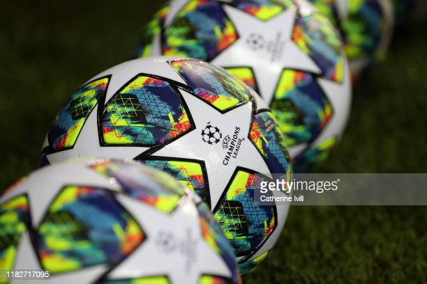 Detailed view of the Champions League logo is seen on a ball prior to the UEFA Champions League group A match between Club Brugge KV and Paris...