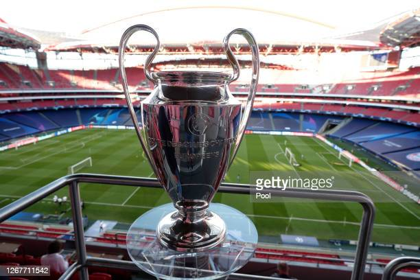 Detailed view of the Champions League Trophy during a training session ahead of their UEFA Champions League Final match against Bayern Munich at...