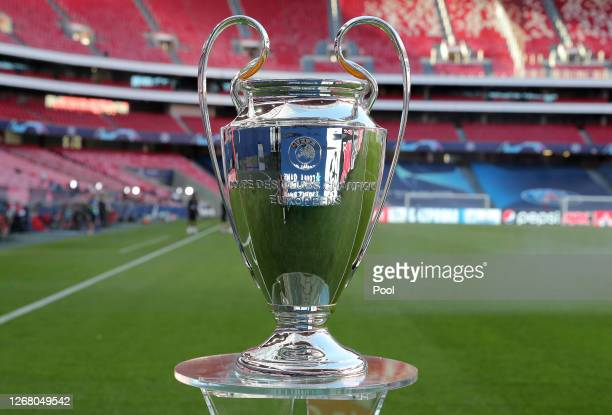 Detailed view of the Champions League Trophy prior to during the UEFA Champions League Final match between Paris Saint-Germain and Bayern Munich at...