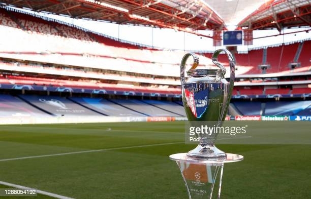 Detailed view of the Champions League Trophy prior to the UEFA Champions League Final match between Paris Saint-Germain and Bayern Munich at Estadio...