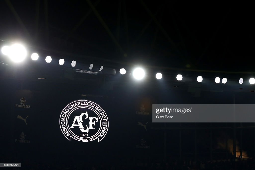 A detailed view of the Chapecoense badge during a minutes silence ahead of the EFL Cup quarter final match between Arsenal and Southampton at the Emirates Stadium on November 30, 2016 in London, England.