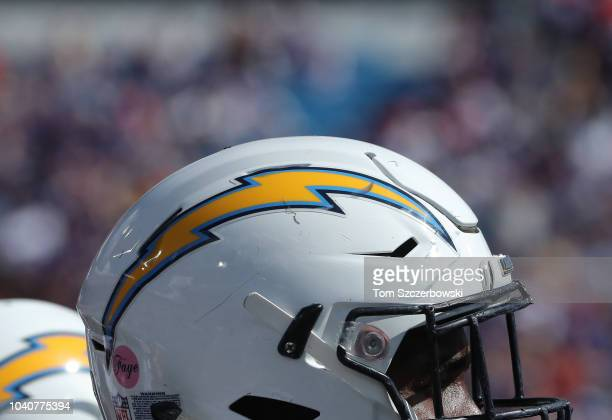 A detailed view of the Chargers logo on the helmet of Trent Scott of the Los Angeles Chargers during NFL game action against the Buffalo Bills at New...