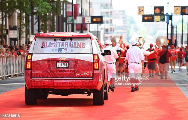 A detailed view of the Chevrolet vehicle used during the Red Carpet Parade prior to the 86th MLB AllStar Game at Great American Ball Park on July 14...