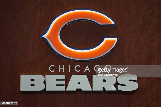 A detailed view of the Chicago Bears logo on the press room podium is seen during the Chicago Bears Rookie Camp on May 12 2017 at Halas Hall in Lake...