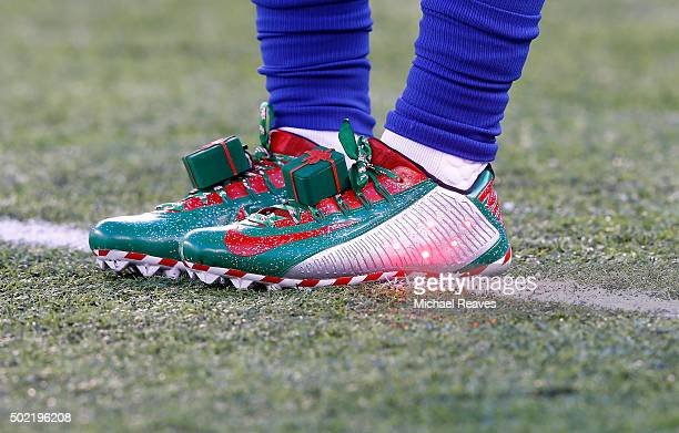 A detailed view of the Christmas themed sneakers of Odell Beckham of the New York Giants during warmsup prior to their game against the Carolina...