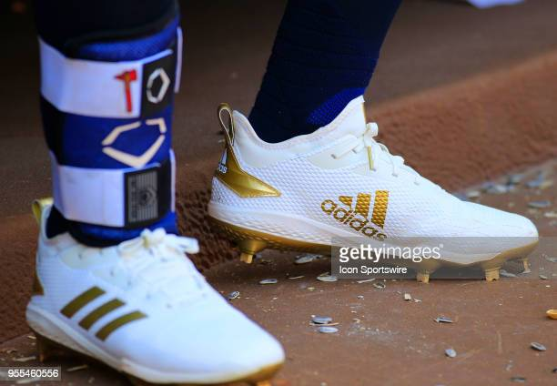 A detailed view of the cleats of Atlanta Braves Center fielder Ender Inciarte during the MLB game between the Atlanta Braves and the San Francisco...