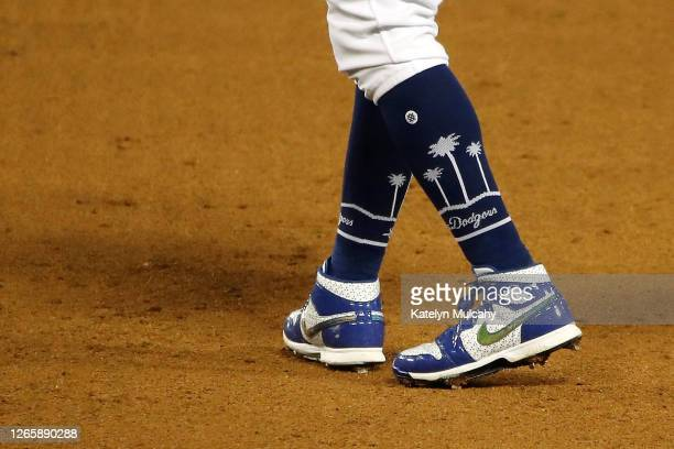 Detailed view of the cleats of Mookie Betts of the Los Angeles Dodgers during the sixth inning against the San Francisco Giants at Dodger Stadium on...