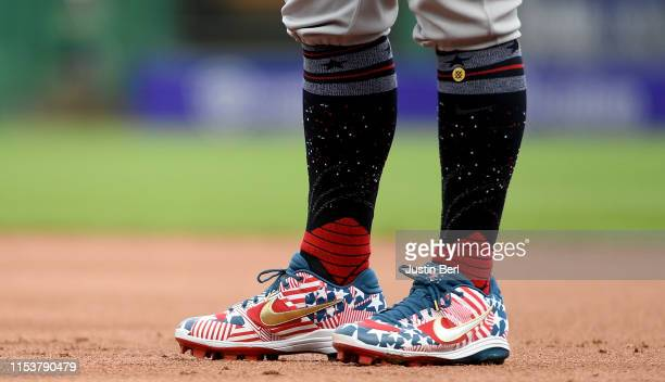 Detailed view of the cleats worn by Anthony Rizzo of the Chicago Cubs celebrating Independence Day during the game against the Pittsburgh Pirates at...