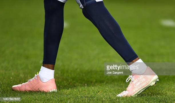 A detailed view of the cleats worn by Travis Benjamin of the Los Angeles Chargers during warmups before the game against the Pittsburgh Steelers at...