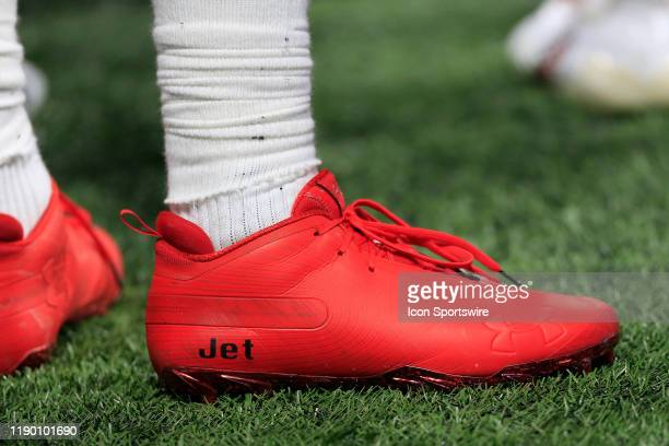 A detailed view of the cleats worn by wide receiver Julio Jones of the Atlanta Falcons during the regular season NFL game between the Atlanta Falcons...