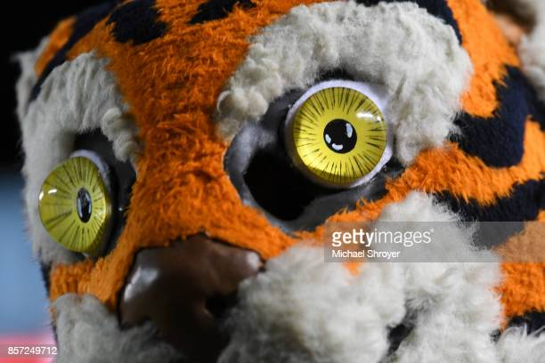 A detailed view of the Clemson Tigers mascot during the game against the Virginia Tech Hokies at Lane Stadium on September 30 2017 in Blacksburg...