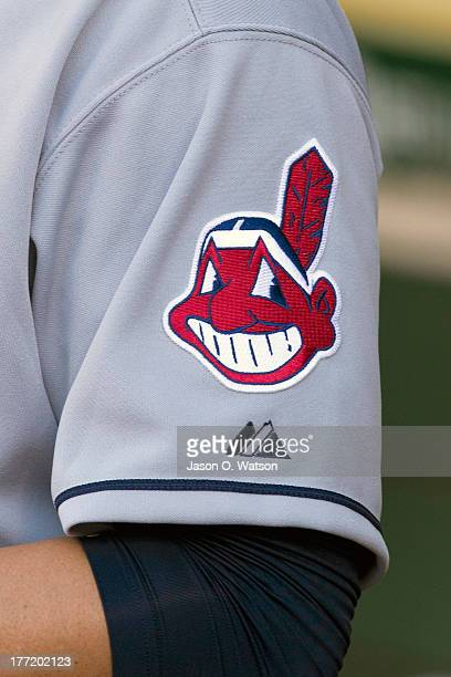 Detailed view of the Cleveland Indians logo on the sleeve of the uniform of Asdrubal Cabrera before the game against the Oakland Athletics at Oco...