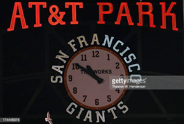 A detailed view of the clock in centerfield at ATT park during an Major League Baseball game between the Cincinnati Reds and San Francisco Giants at...