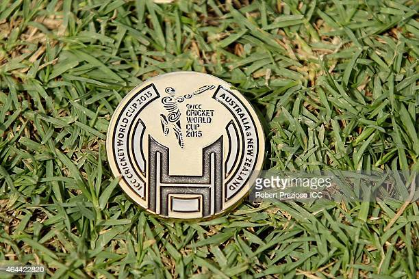 A detailed view of the coin used for coin toss during the 2015 ICC Cricket World Cup match between Sri Lanka and Bangladesh at Melbourne Cricket...