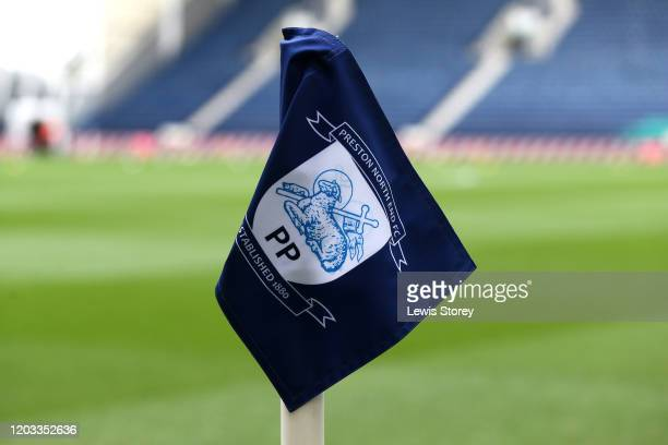 A detailed view of the corner flag ahead of the Sky Bet Championship match between Preston North End and Swansea City at Deepdale on February 01 2020...