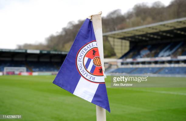 Detailed view of the corner flag prior to the Premier League 2 match between Reading U23 and Aston Villa U23 at Adams Park on April 12 2019 in High...
