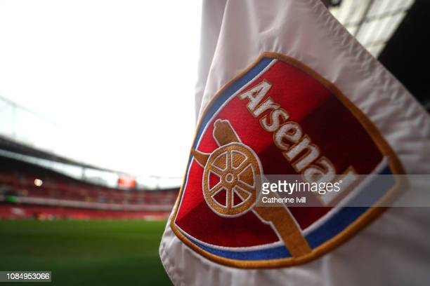 Detailed view of the corner flag prior to the Premier League match between Arsenal FC and Chelsea FC at Emirates Stadium on January 19, 2019 in...