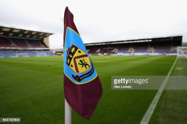 A detailed view of the corner flag prior to the Premier League match between Burnley and Crystal Palace at Turf Moor on September 10 2017 in Burnley...