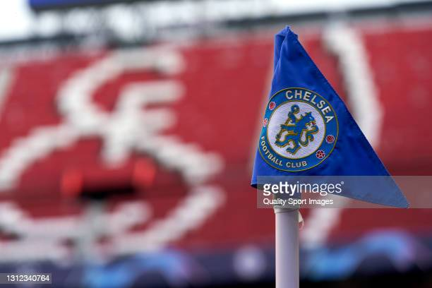 Detailed view of the corner flag prior to the UEFA Champions League Quarter Final Second Leg match between Chelsea FC and FC Porto at Estadio Ramon...