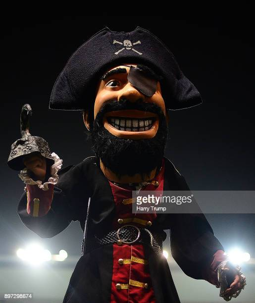 Detailed view of the Cornish Pirates mascot during the Greene King IPA Championship match between Bristol Rugby and Cornish Pirates at Ashton Gate on...
