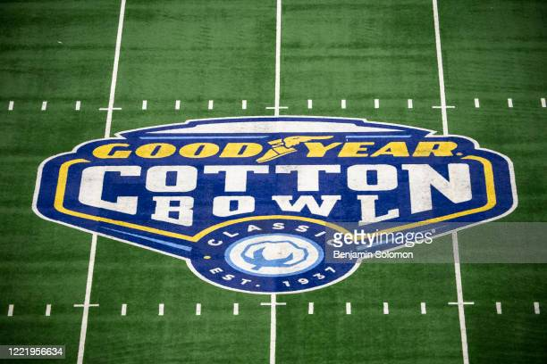 A detailed view of the Cotton Bowl logo at midfield during the Goodyear Cotton Bowl Classic at ATT Stadium on December 28 2019 in Arlington Texas