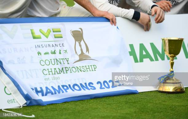 Detailed view of the County Championship Trophy following Day Four of the LV= Insurance County Championship match between Warwickshire and Somerset...