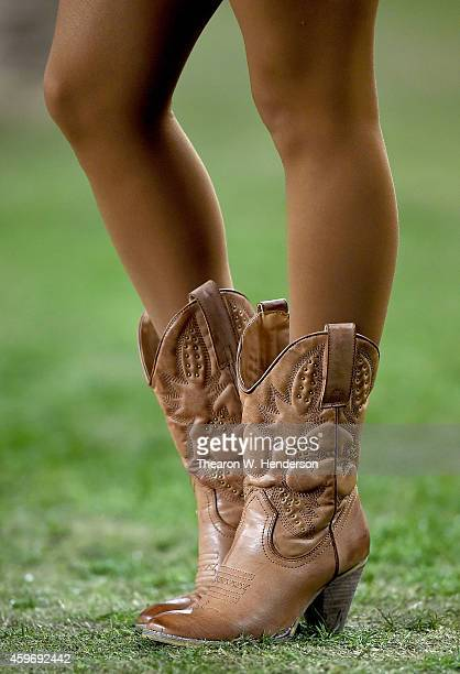 A detailed view of the cowboy boots worn by the San Francisco 49ers cheerleaders the Gold Rush during an NFL game against the Seattle Seahawks at...