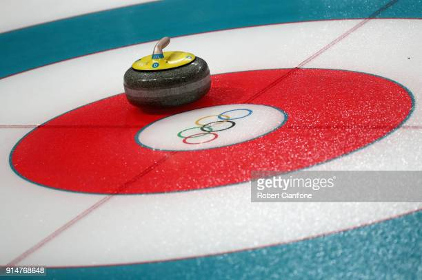 Detailed view of the Curling sheet during Curling training ahead of the PyeongChang 2018 Winter Olympic Games at Gangneung Curling Centre on February...
