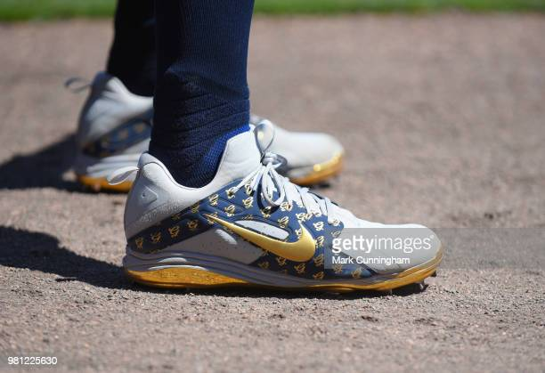 A detailed view of the custom Nike baseball shoes worn by Giancarlo Stanton of the New York Yankees during game one of a double header against the...