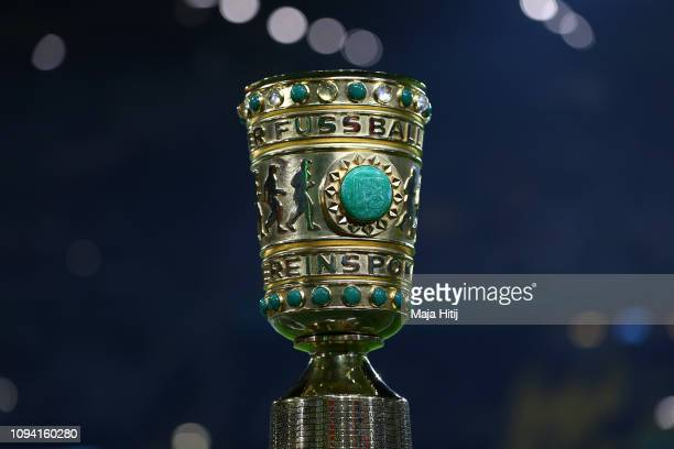A detailed view of the DFB Cup is seen prior to the DFB Cup match between Borussia Dortmund and Werder Bremen at Signal Iduna Park on February 5 2019...