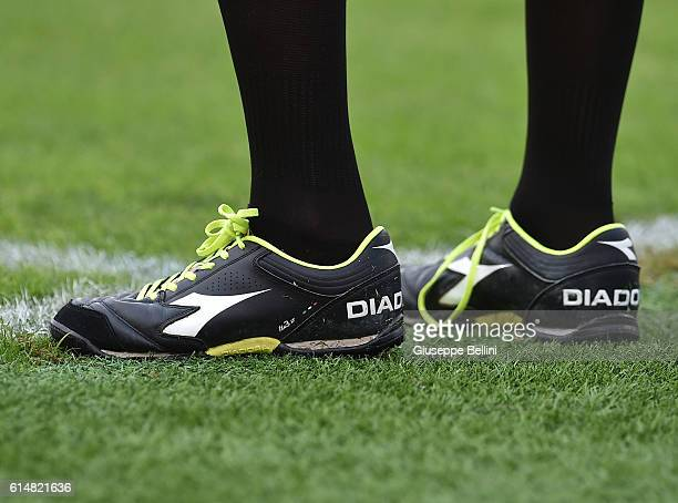 A detailed view of the Diadora shoes worn by Assistant Referee Gianluca Rocchi during the Serie A match between SS Lazio and Pescara Calcio at Stadio...