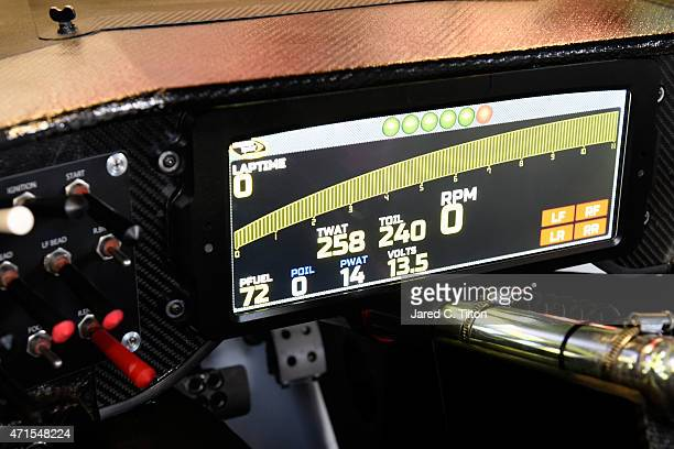 A detailed view of the digital dashboard inside the Ganassi Racing Chevrolet driven by Kyle Larson during NASCAR Sprint Cup Series testing at...