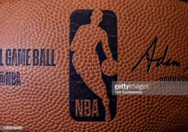 A detailed view of the dimpled NBA logo on a basketball patterned after a silhouette of former player Jerry West before the start of the Toronto...