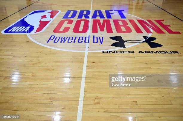 A detailed view of the draft combine logo during Day One of the NBA Draft Combine at Quest MultiSport Complex on May 17 2018 in Chicago Illinois NOTE...
