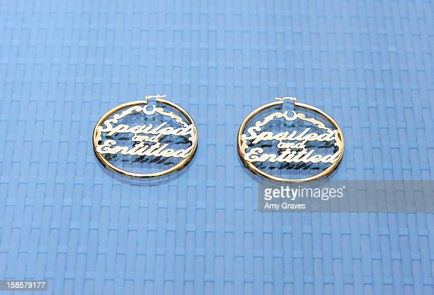 A detailed view of the earrings in the Spring 2013 Spoiled and Entitled clothing jewelry and chocolate collection on December 19 2012 in West...