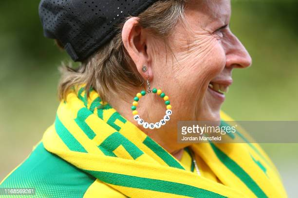 A detailed view of the earrings on a Norwich City supporter during the Premier League match between Norwich City and Newcastle United at Carrow Road...