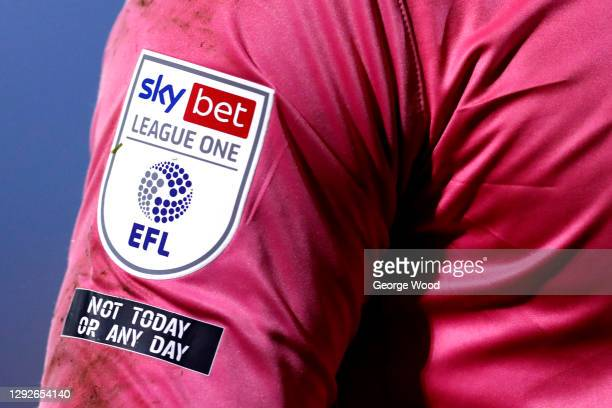 """Detailed view of the EFL Sky Bet League One and """"Not today or any day"""" anti racism sleeve badges during the Sky Bet League One match between..."""