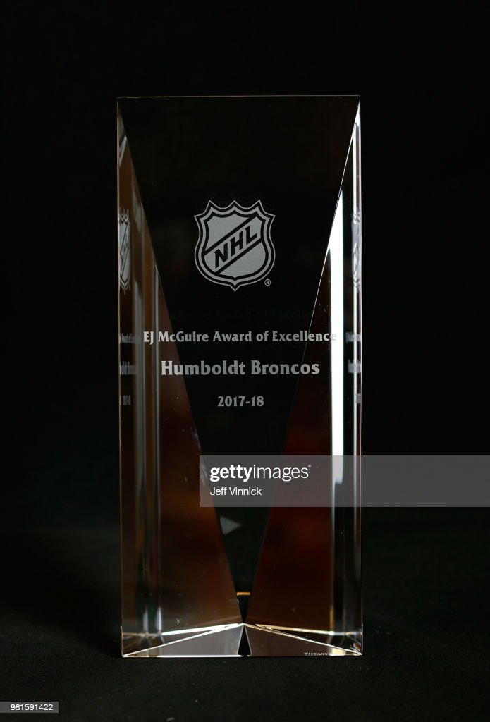 A detailed view of the EJ McGuire Award of Excellence awarded to the Humboldt Broncos prior to the first round of the 2018 NHL Draft at American Airlines Center on June 22, 2018 in Dallas, Texas.
