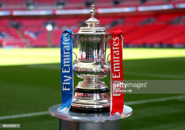 A detailed view of the Emirates FA Cup Trophy prior to The Emirates FA Cup Final between Chelsea and Manchester United at Wembley Stadium on May 19...