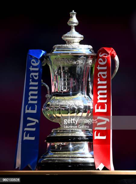 Detailed view of the Emirates FA Cup Trophy prior to The Emirates FA Cup Final between Chelsea and Manchester United at Wembley Stadium on May 19,...