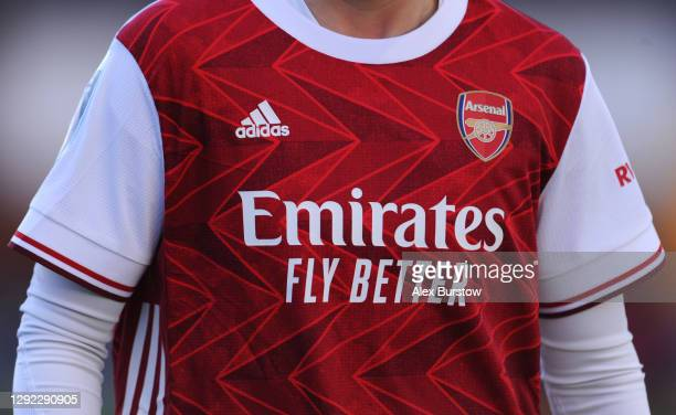 Detailed view of the 'Emirates Fly Better' sponsor logo on the front of the Arsenal home shirt worn by Beth Mead of Arsenal during the Barclays FA...