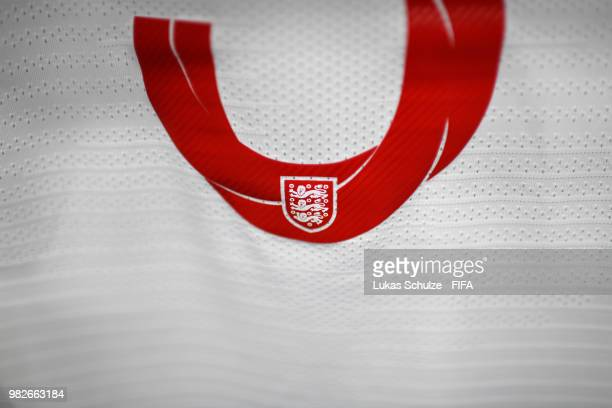 A detailed view of the England badge on the number on a shirt is seen inside the England dressing room prior to the 2018 FIFA World Cup Russia group...