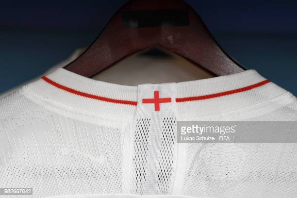 A detailed view of the England flag is seen on the collar of an England shirt inside the England dressing room prior to the 2018 FIFA World Cup...
