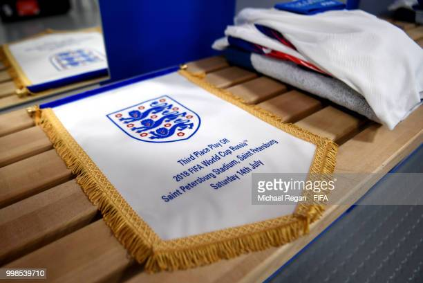 Detailed view of the England pennant is seen inside the England dressing room prior to the 2018 FIFA World Cup Russia 3rd Place Playoff match between...