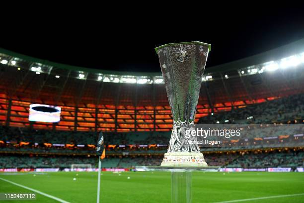 Detailed view of the Europa League Trophy is seen prior to the UEFA Europa League Final between Chelsea and Arsenal at Baku Olimpiya Stadionu on May...